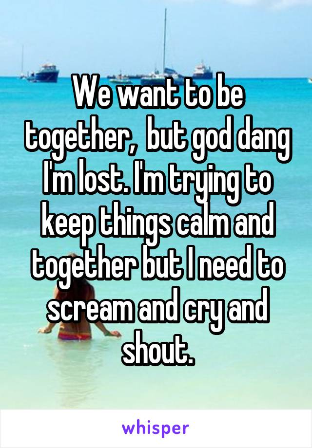 We want to be together,  but god dang I'm lost. I'm trying to keep things calm and together but I need to scream and cry and shout.