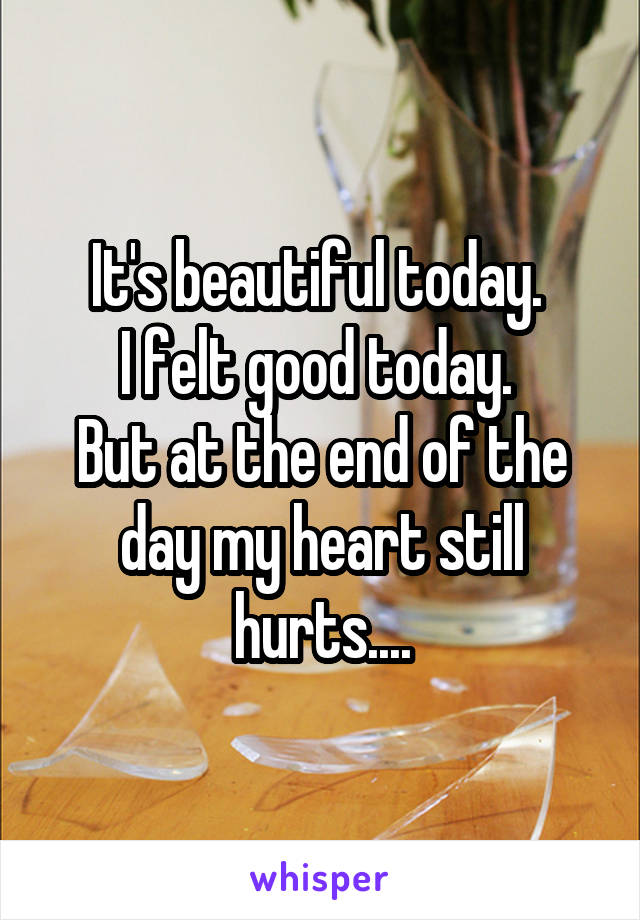 It's beautiful today.  I felt good today.  But at the end of the day my heart still hurts....