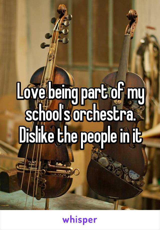 Love being part of my school's orchestra. Dislike the people in it
