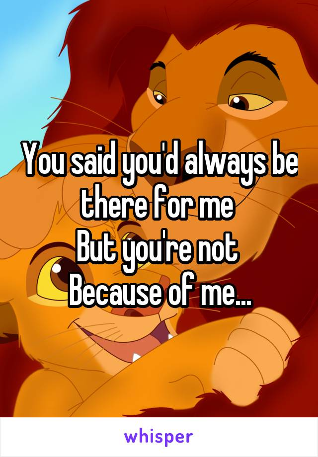 You said you'd always be there for me  But you're not  Because of me...