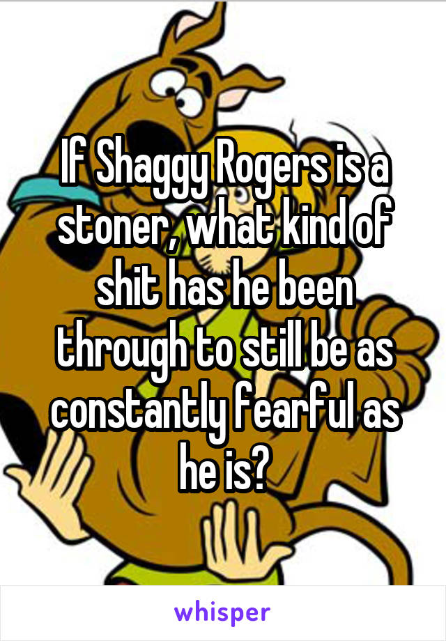 If Shaggy Rogers is a stoner, what kind of shit has he been through to still be as constantly fearful as he is?