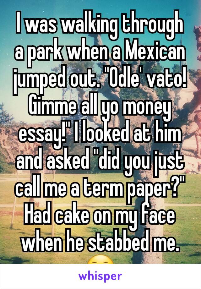 """I was walking through a park when a Mexican jumped out. """"Odle' vato! Gimme all yo money essay!"""" I looked at him and asked """"did you just call me a term paper?"""" Had cake on my face when he stabbed me.😐"""