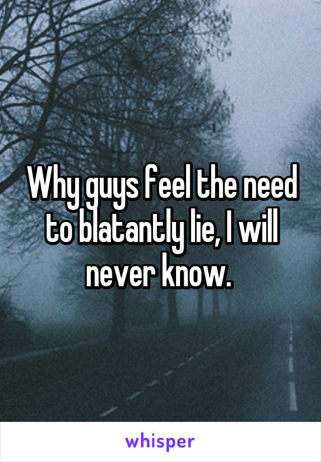 Why guys feel the need to blatantly lie, I will never know.