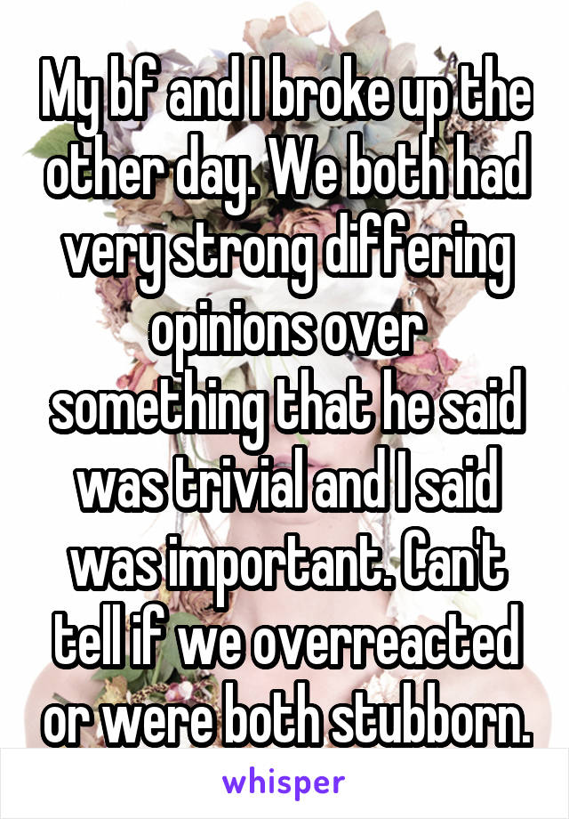 My bf and I broke up the other day. We both had very strong differing opinions over something that he said was trivial and I said was important. Can't tell if we overreacted or were both stubborn.