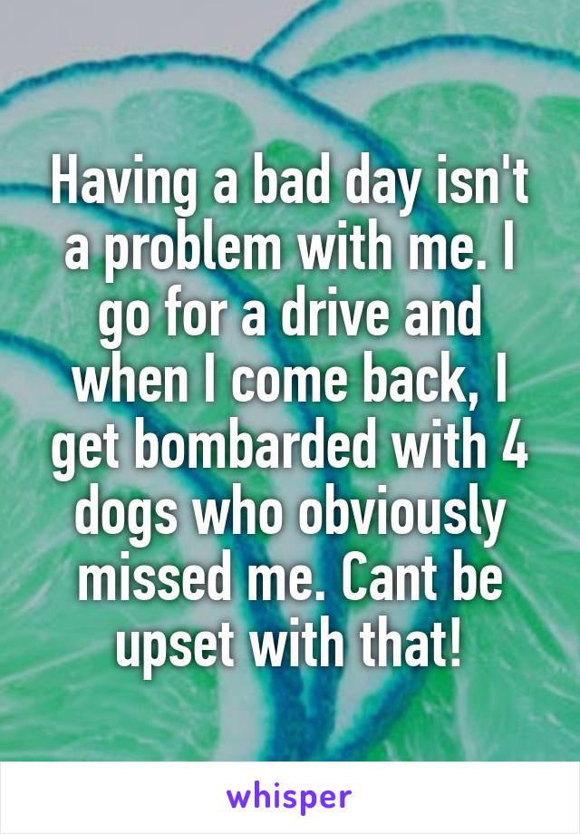 Having a bad day isn't a problem with me. I go for a drive and when I come back, I get bombarded with 4 dogs who obviously missed me. Cant be upset with that!