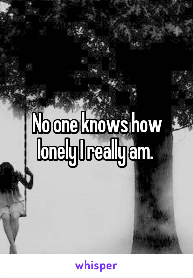 No one knows how lonely I really am.
