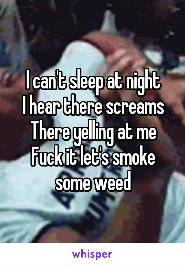I can't sleep at night I hear there screams There yelling at me Fuck it let's smoke some weed