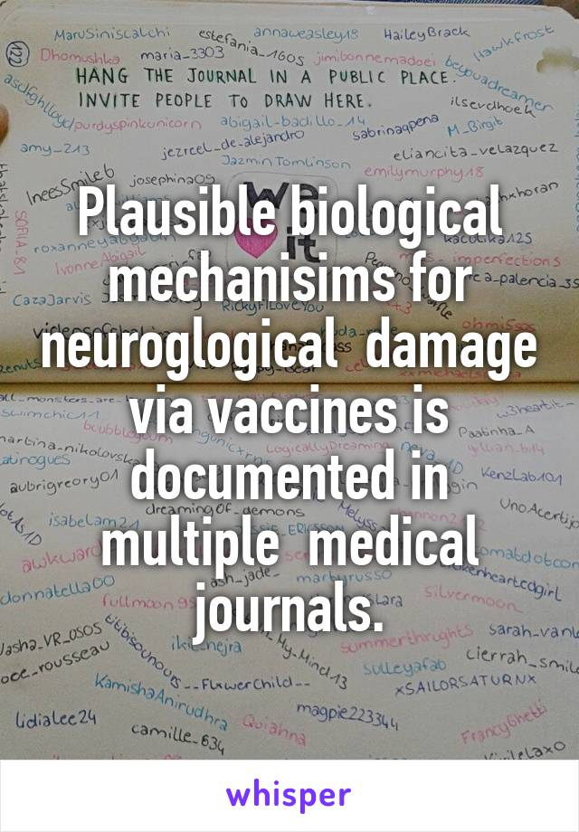 Plausible biological mechanisims for neuroglogical  damage via vaccines is documented in multiple  medical journals.