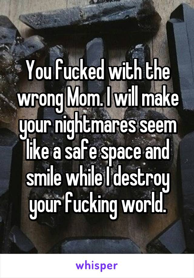 You fucked with the wrong Mom. I will make your nightmares seem like a safe space and smile while I destroy your fucking world.