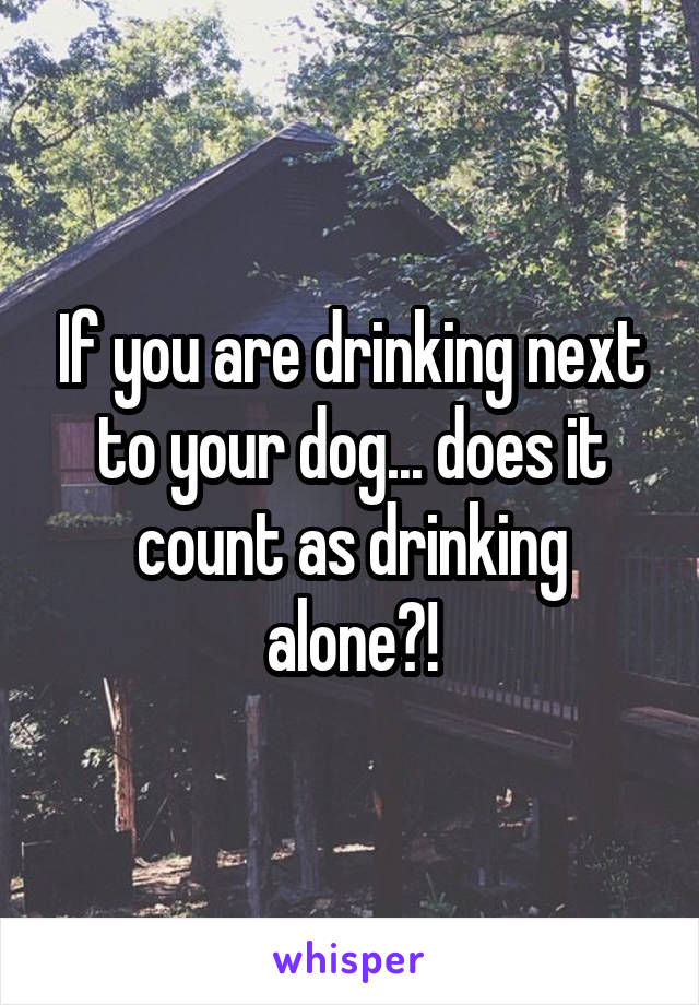 If you are drinking next to your dog... does it count as drinking alone?!