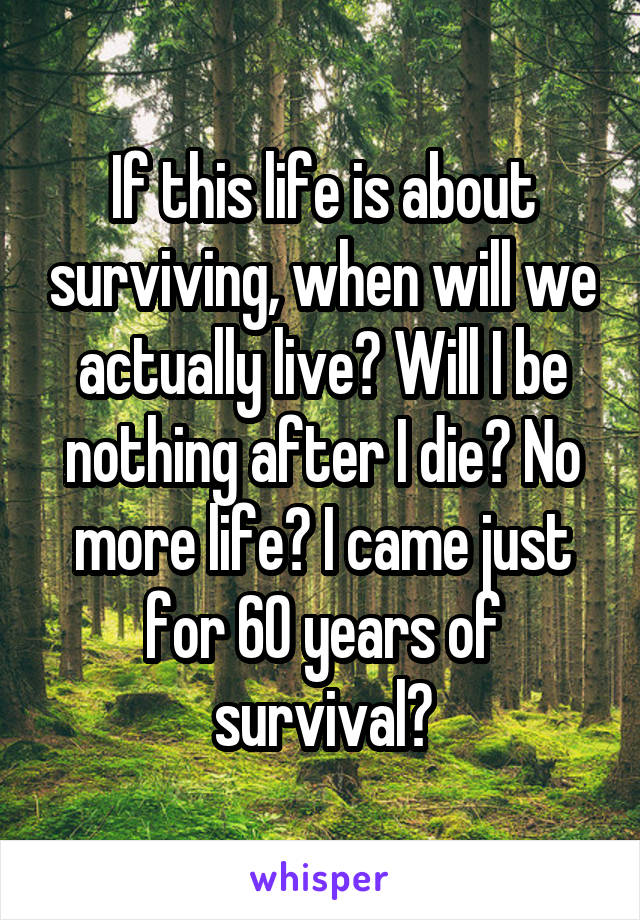If this life is about surviving, when will we actually live? Will I be nothing after I die? No more life? I came just for 60 years of survival?