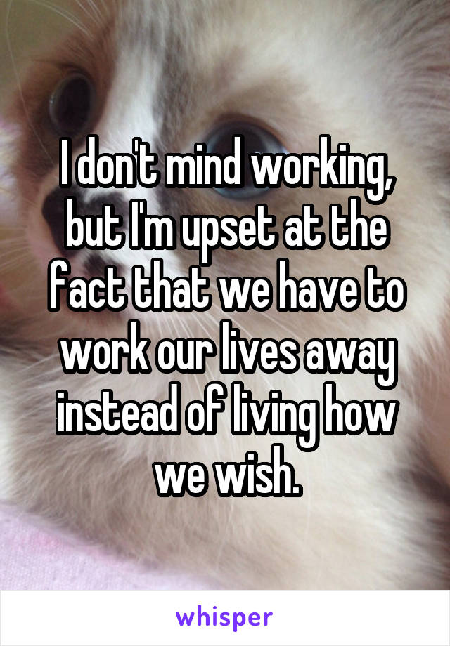 I don't mind working, but I'm upset at the fact that we have to work our lives away instead of living how we wish.