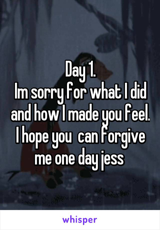Day 1. Im sorry for what I did and how I made you feel. I hope you  can forgive me one day jess