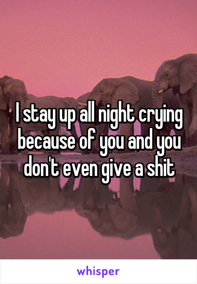 I stay up all night crying because of you and you don't even give a shit