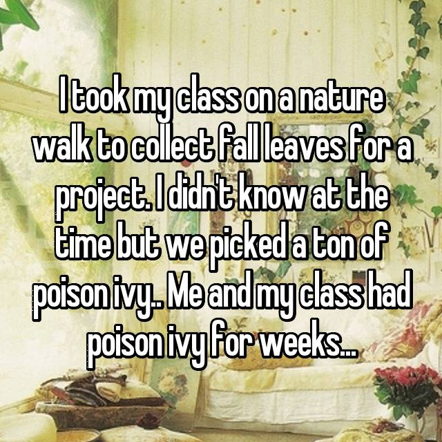 I took my class on a nature walk to collect fall leaves for a project. I didn't know at the time but we picked a ton of poison ivy.. Me and my class had poison ivy for weeks...