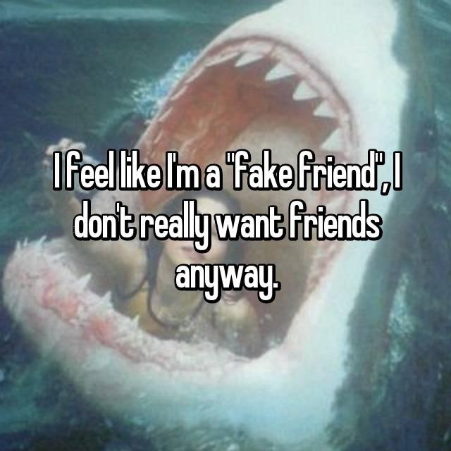 "I feel like I'm a ""fake friend"", I don't really want friends anyway."