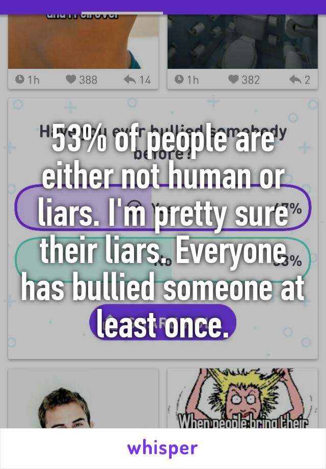 53% of people are either not human or liars. I'm pretty sure their liars. Everyone has bullied someone at least once.
