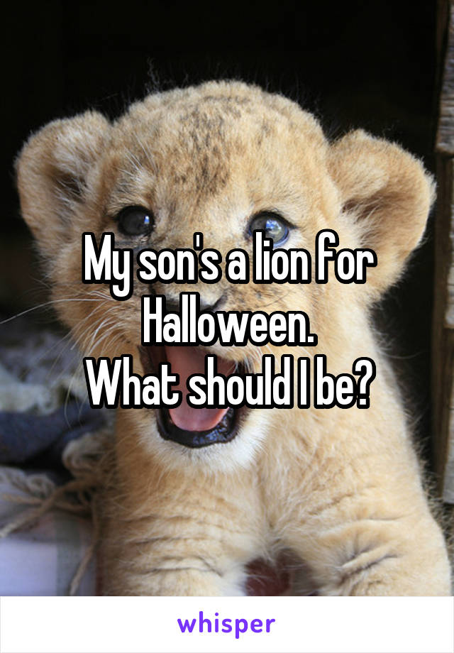 My son's a lion for Halloween. What should I be?