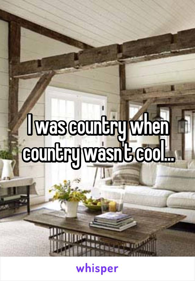 I was country when country wasn't cool...