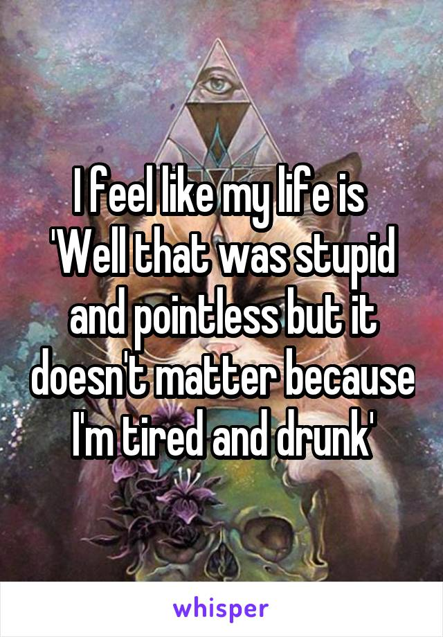 I feel like my life is  'Well that was stupid and pointless but it doesn't matter because I'm tired and drunk'