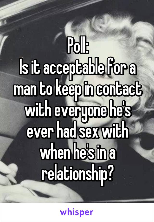 Poll: Is it acceptable for a man to keep in contact with everyone he's ever had sex with when he's in a relationship?