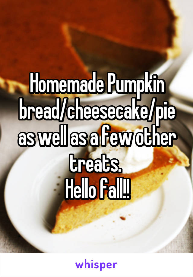 Homemade Pumpkin bread/cheesecake/pie as well as a few other treats.  Hello fall!!