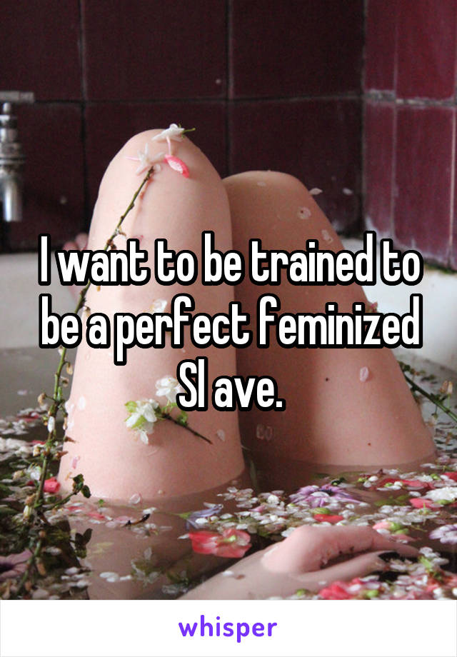 I want to be trained to be a perfect feminized Sl ave.