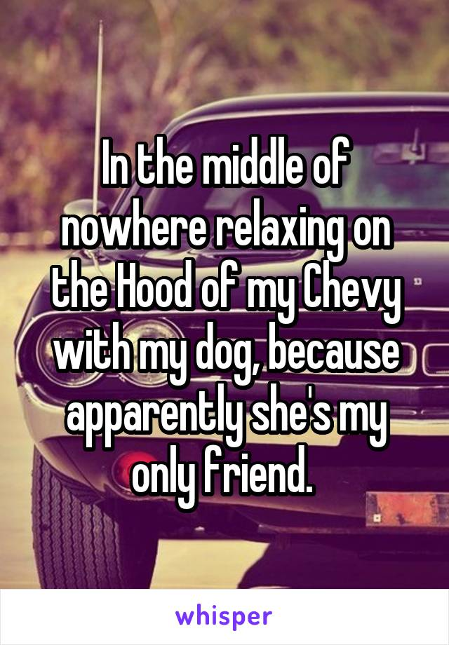 In the middle of nowhere relaxing on the Hood of my Chevy with my dog, because apparently she's my only friend.