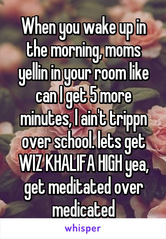 When you wake up in the morning, moms yellin in your room like can I get 5 more minutes, I ain't trippn over school. lets get WIZ KHALIFA HIGH yea, get meditated over medicated