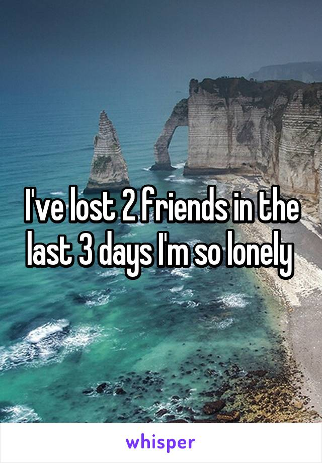 I've lost 2 friends in the last 3 days I'm so lonely