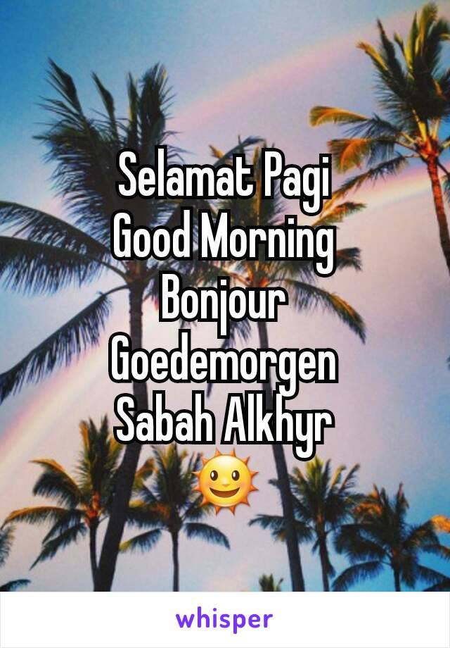 Selamat Pagi Good Morning Bonjour Goedemorgen Sabah Alkhyr 🌞