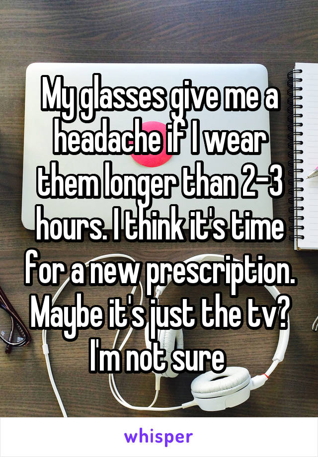 My glasses give me a headache if I wear them longer than 2-3 hours. I think it's time for a new prescription. Maybe it's just the tv? I'm not sure