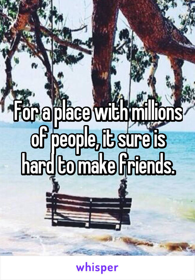 For a place with millions of people, it sure is hard to make friends.