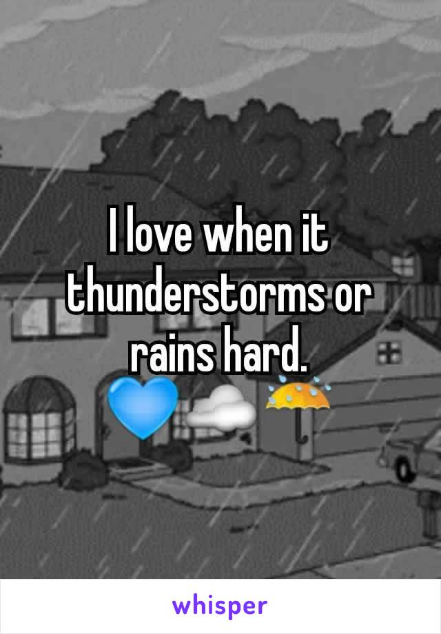 I love when it thunderstorms or rains hard. 💙☁☔