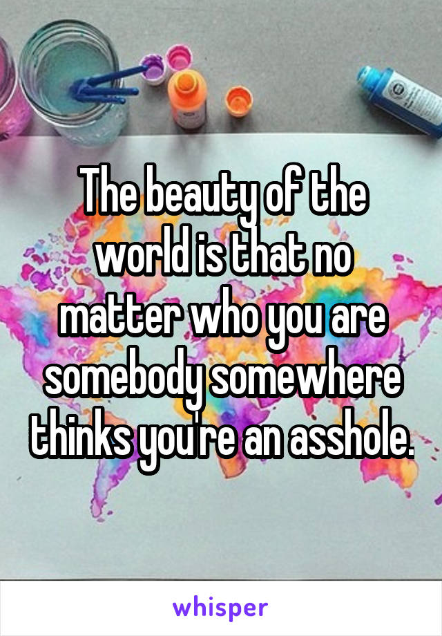 The beauty of the world is that no matter who you are somebody somewhere thinks you're an asshole.