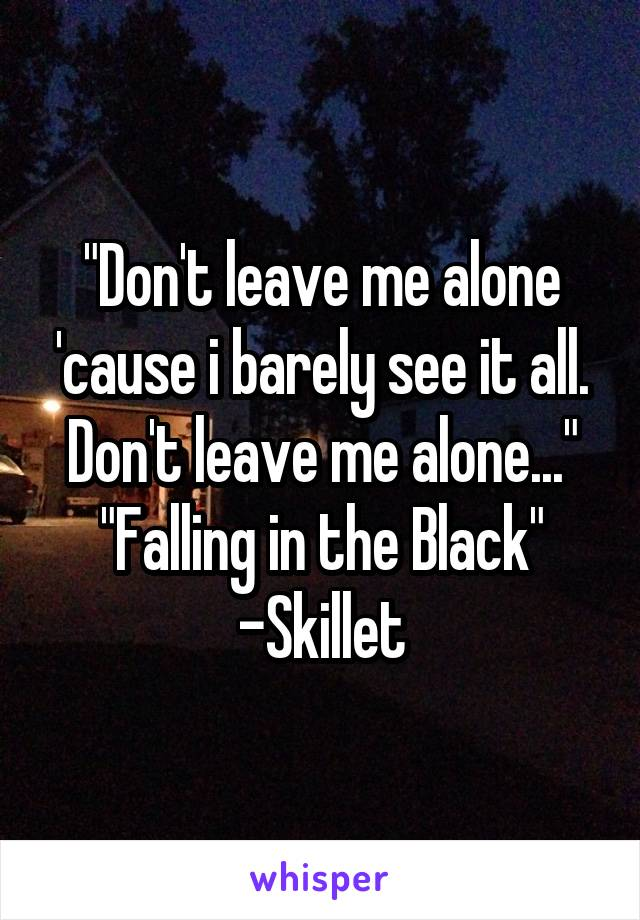 """Don't leave me alone 'cause i barely see it all. Don't leave me alone..."" ""Falling in the Black"" -Skillet"