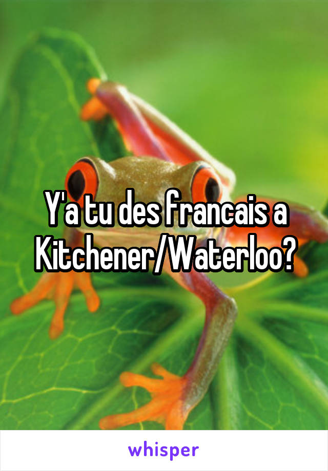 Y'a tu des francais a Kitchener/Waterloo?