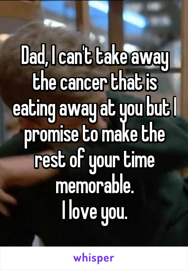 Dad, I can't take away the cancer that is eating away at you but I promise to make the rest of your time memorable. I love you.
