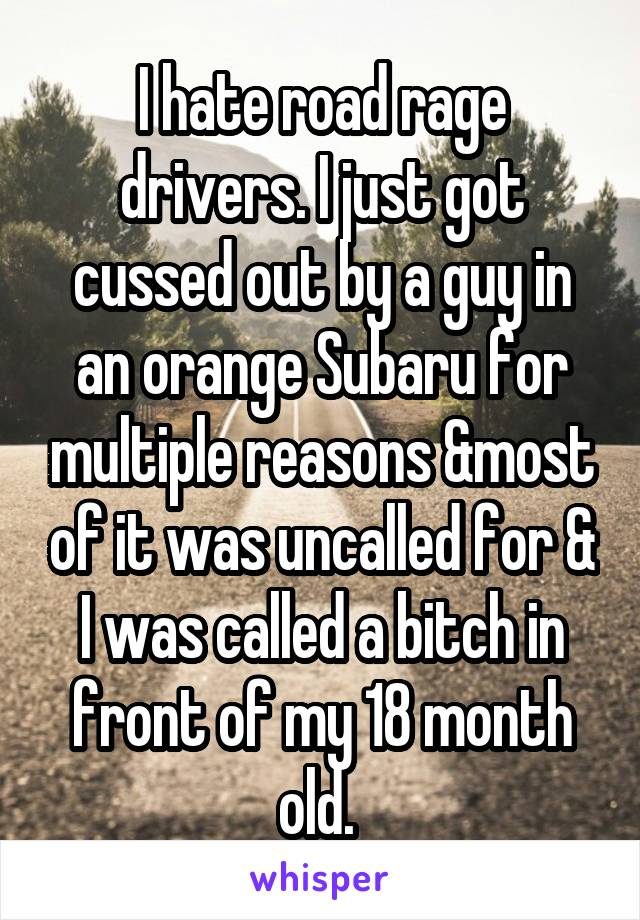 I hate road rage drivers. I just got cussed out by a guy in an orange Subaru for multiple reasons &most of it was uncalled for & I was called a bitch in front of my 18 month old.