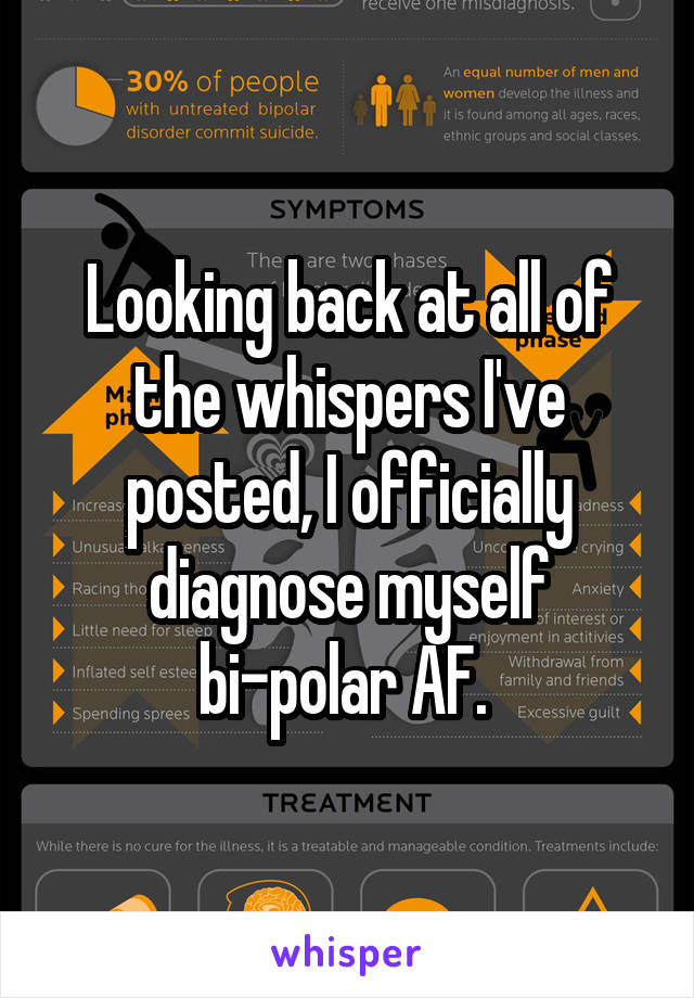 Looking back at all of the whispers I've posted, I officially diagnose myself bi-polar AF.