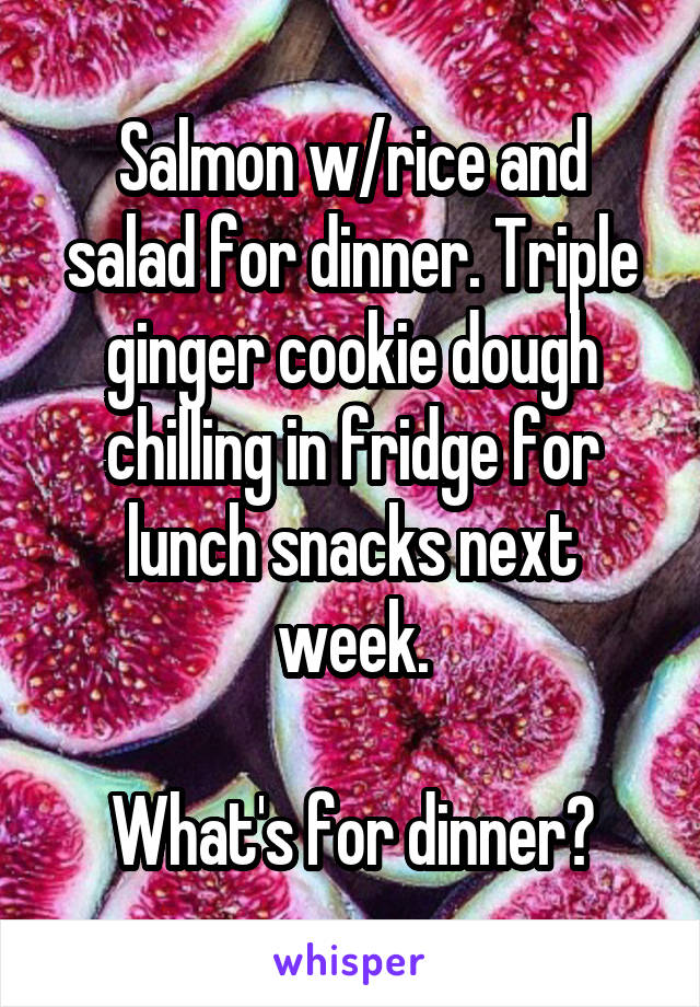 Salmon w/rice and salad for dinner. Triple ginger cookie dough chilling in fridge for lunch snacks next week.  What's for dinner?
