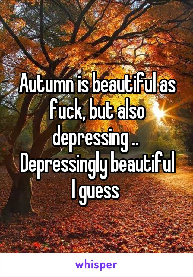 Autumn is beautiful as fuck, but also depressing ..  Depressingly beautiful I guess