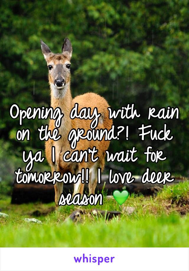 Opening day with rain on the ground?! Fuck ya I can't wait for tomorrow!! I love deer season 💚
