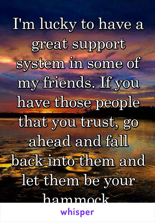 I'm lucky to have a great support system in some of my friends. If you have those people that you trust, go ahead and fall back into them and let them be your hammock.