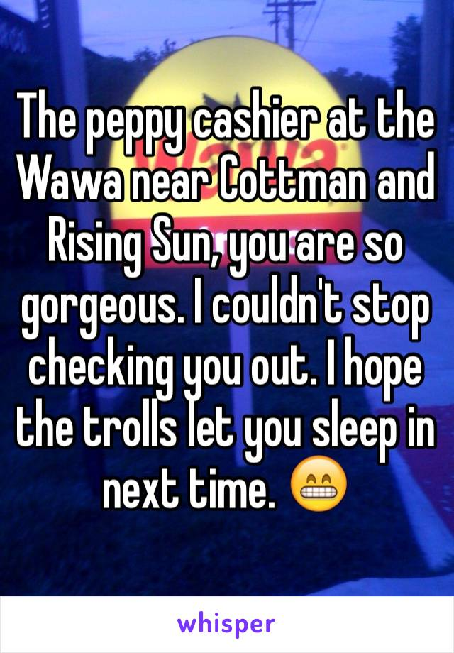 The peppy cashier at the Wawa near Cottman and Rising Sun, you are so gorgeous. I couldn't stop checking you out. I hope the trolls let you sleep in next time. 😁