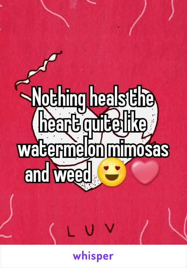 Nothing heals the heart quite like watermelon mimosas and weed 😍❤
