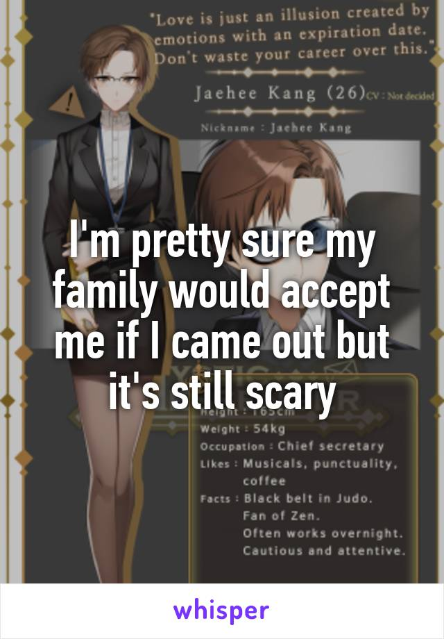 I'm pretty sure my family would accept me if I came out but  it's still scary