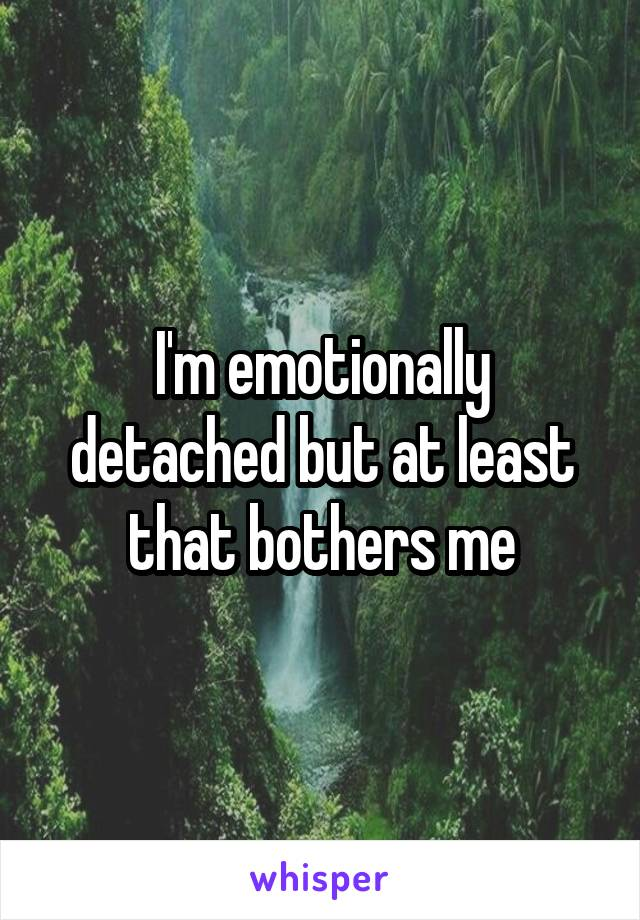 I'm emotionally detached but at least that bothers me