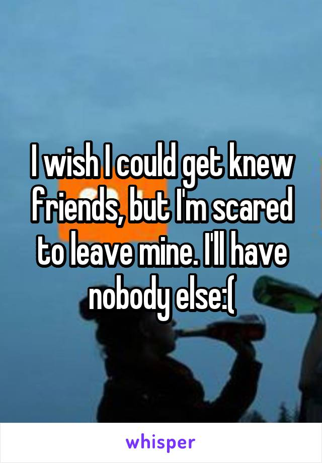 I wish I could get knew friends, but I'm scared to leave mine. I'll have nobody else:(