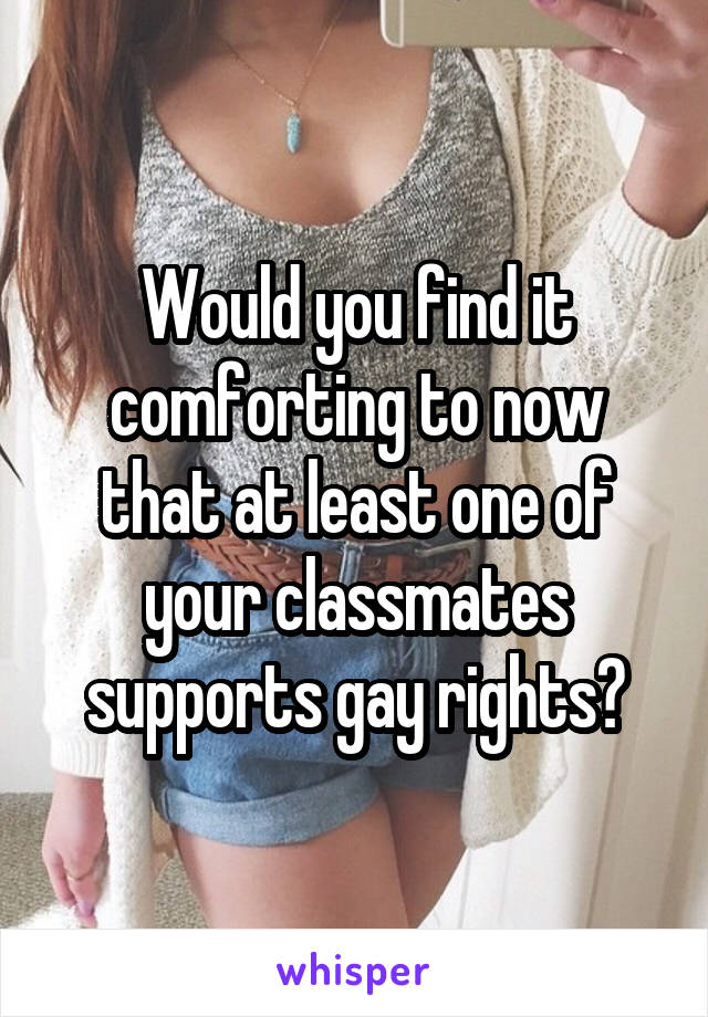 Would you find it comforting to now that at least one of your classmates supports gay rights?